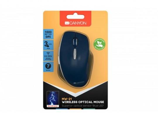 Canyon CNS-CMSW21BL, USB, Blue LED Senzor, 1600 DPI, UV Matt Egér - 1460067 #6