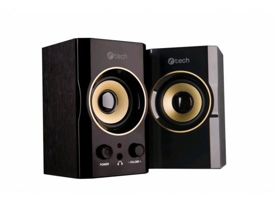 C-Tech SPK-11, 2.0, Wood, Black-Gold, Jack/USB Hangszóró - 1840024 #1