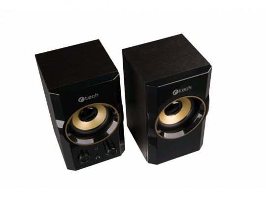 C-Tech SPK-11, 2.0, Wood, Black-Gold, Jack/USB Hangszóró - 1840024 #3