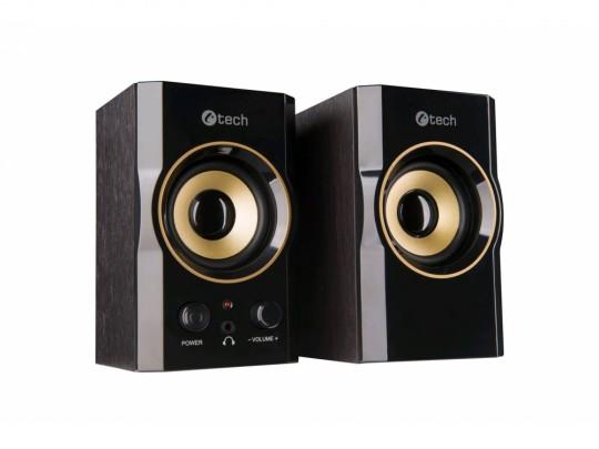 C-Tech SPK-11, 2.0, Wood, Black-Gold, Jack/USB Hangszóró - 1840024 #2