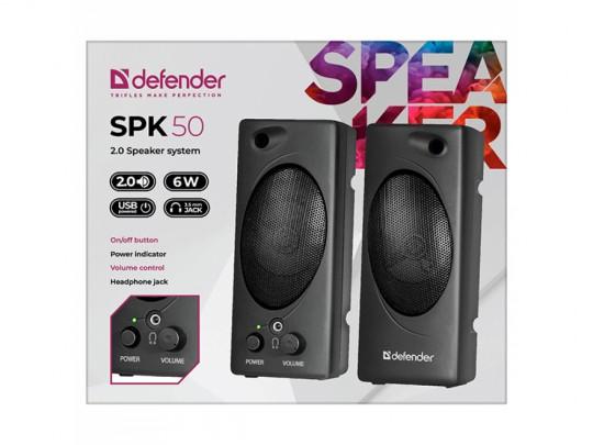 Defender Reproduktor SPK 50, 2.0, 6W, Black, Volume Control, 3,5 Jack, USB Hangszóró - 1840025 #2