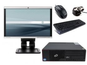 """Fujitsu Esprimo E710 SFF + 19"""" Monitor HP LA1905wg + Webcamera + Egér és Billentyűzet + Telepített Windows 10 PRO"""